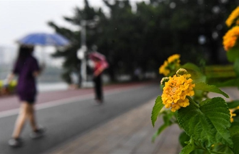 City view in rain of Nanning, S China