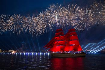 People celebrate Scarlet Sails festival in St. Petersburg, Russia