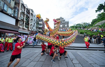 Dragon and lion dance parade held in Macao as part of Wushu Masters Challenge 2019 event