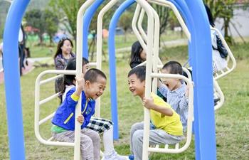People have fun at Nantian Lake scenic area in Chongqing