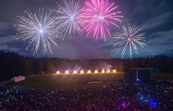 International fireworks show held in Vilnius, Lithuania