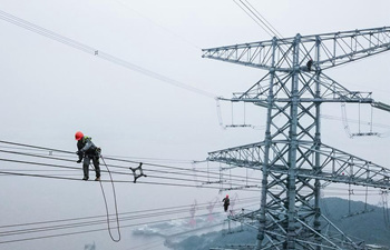 Technicians check power transmission lines in Zhoushan