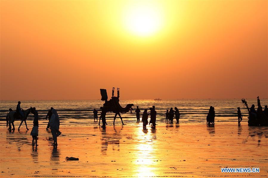 Views of Clifton beach in Karachi, Pakistan - Xinhua