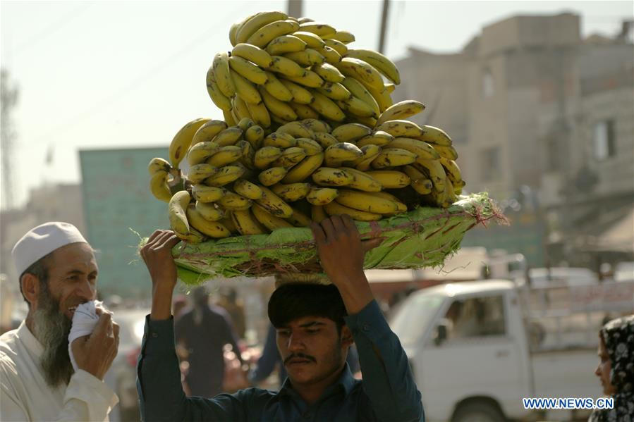 Daily life of Pakistani people at fruit and vegetable market