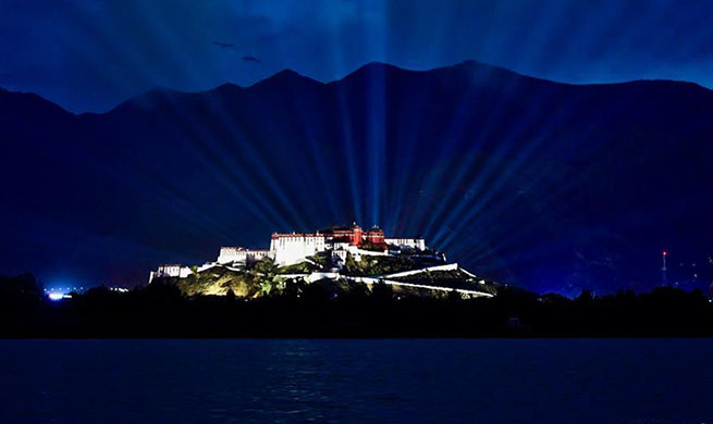 "Light show ""I Love China"" staged in front of Potala Palace in Lhasa"