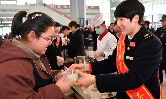 Lantern Festival celebrated at Taiyuan South Railway Station in China's Shanxi