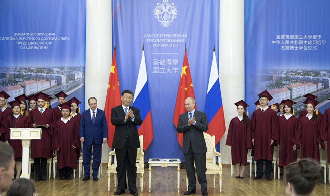 Chinese president receives honorary doctorate from Russian university