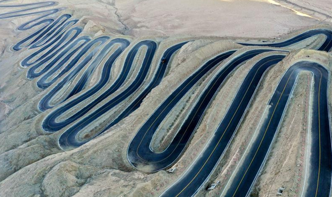"""Aerial view of """"plateau sky road"""" in NW China's Xinjiang"""