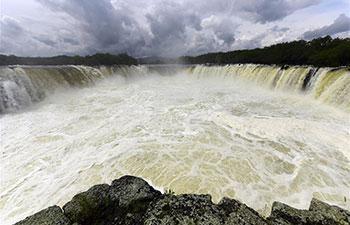 Splendid scenery of Diaoshuilou Waterfall in China's Heilongjiang