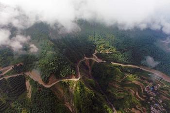 Aerial view of Guniu Mountain in southwest China's Yunnan