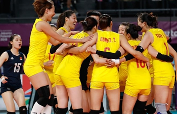 China wins women's volleyball semifinal match at 18th Asian Games