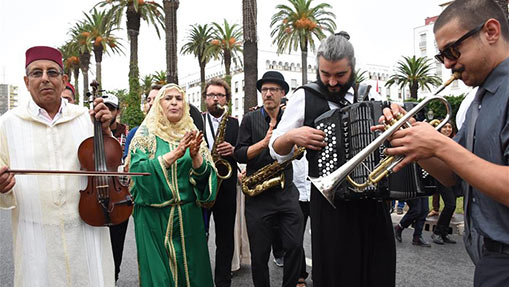 Artists present street show during Chellah Jazz Festival in Morocco