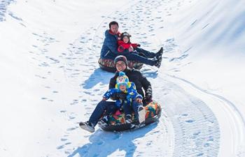 People enjoy winter sports at ski resorts in China