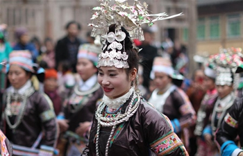 Miao people celebrate Guzang Festival in SW China's Guizhou