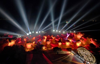 Light show displayed at Yehliu Geopark in SE China's Taiwan