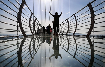 In pics: glass bridge at Huaxi World Adventure Park in east China's Jiangsu