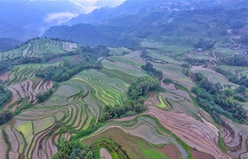 Scenery of terraced lands in Gaokan Township, China's Sichuan