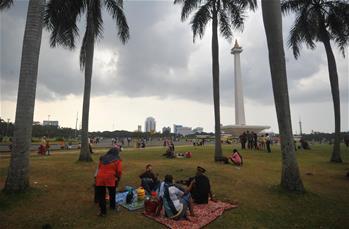 People enjoy Eid al-Fitr holiday in Jakarta, Indonesia