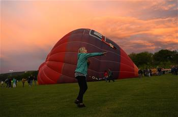 People visit balloon festival in Bonn, Germany