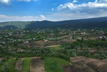 Scenery of village in Budgam district, Indian-controlled Kashmir