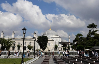 Tourists go sightseeing in Istanbul