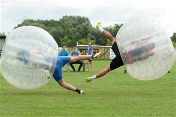 People play Bubble Football in Croatia