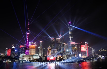 Night view of Shanghai on eve of China's National Day