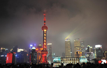 Light show presented during National Day holiday in Shanghai