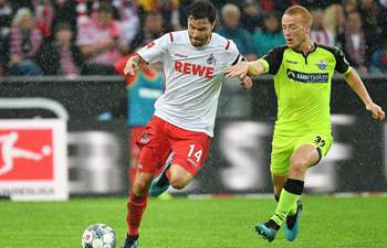FC Cologne compete with SC Paderborn 07 at Bundesliga match