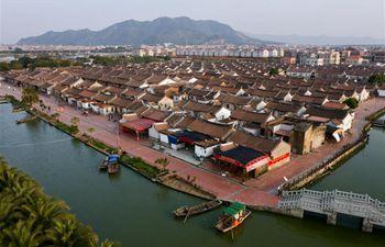 Aerial view of Daimei Village in Longhai, SE China's Fujian