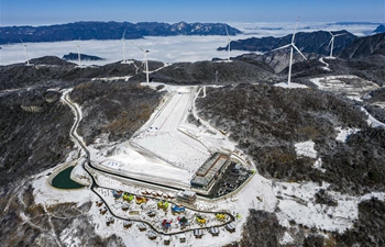 Winter scenery of Wufeng international ski park in China's Hubei