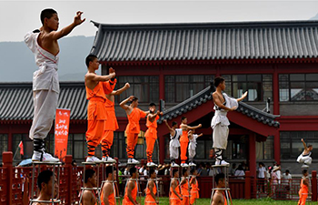 Martial arts performance held at Shaolin Temple, China's Henan
