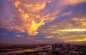 Sunset afterglow cast over Quanzhou, SE China's Fujian