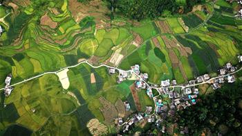 Aerial view of Longlin, S China's Guangxi