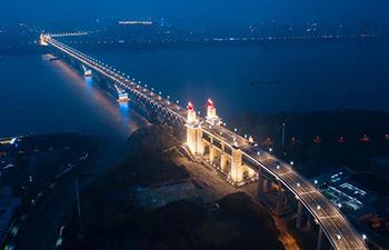 In pics: night view of Nanjing Yangtze River Bridge after renovation