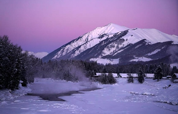 Winter view of Kanas scenic area in China's Xinjiang