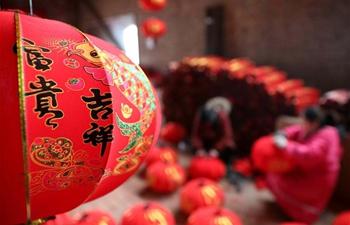 People make red lanterns in Luozhuang, N China's Hebei