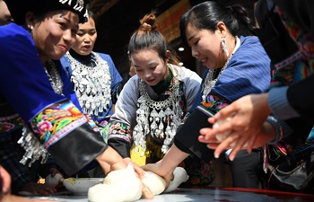 Villagers celebrate traditional New Year in Shibadong Village of China's Hunan