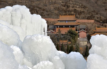 In pics: frozen waterfall in north China's Hebei