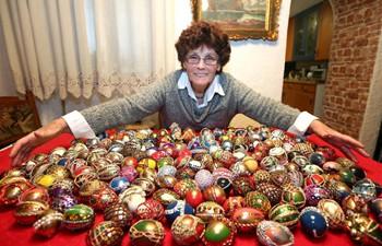 Easter egg decoration artist Vera Trojan shows works in Sibenik, Croatia