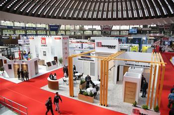 People visit 2019 South-East Europe Belgrade Building Expo in Serbia