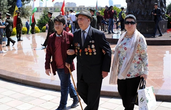 People attend ceremony to mark 74th anniv. of victory over Nazism in Baku, Azerbaijan