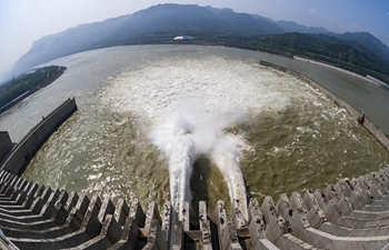 In pics: water discharging from Three Gorges Dam in C China's Hubei