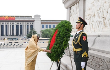 Bangladeshi PM lays wreath at Monument to the People's Heroes in Beijing