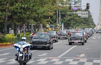 China iconic brand Hongqi's classic cars displayed in Jilin