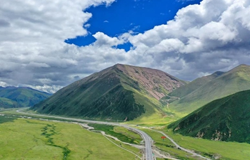 Scenery along highway linking Lhasa with Nyingchi in southwest China's Tibet