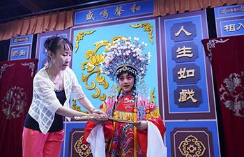 Children learn Peking Opera in Qinhuangdao, China's Hebei