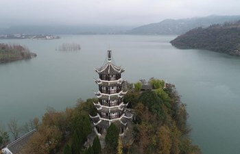 View of Hanjiang River in Ankang, China's Shaanxi