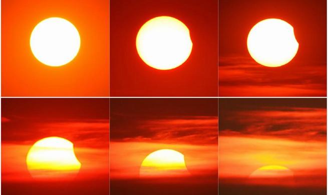 Partial solar eclipse seen in east China's Jiangsu