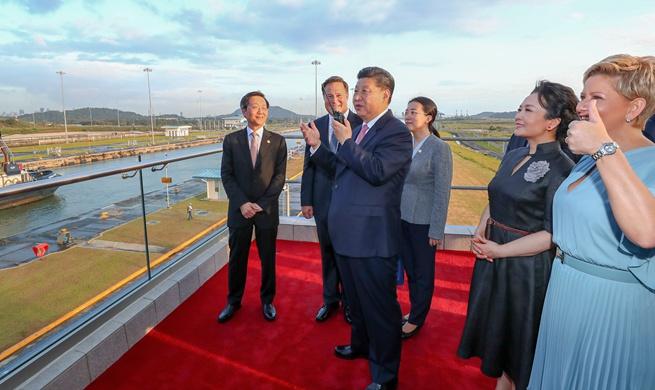 Chinese president visits new Panama Canal locks